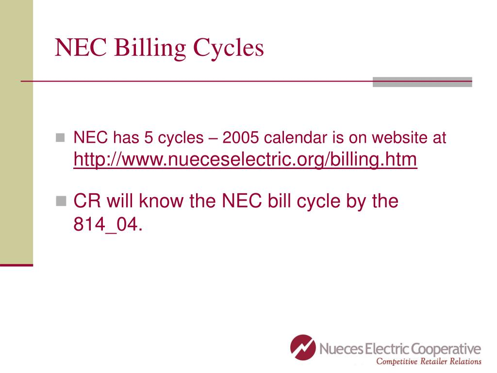 NEC Billing Cycles