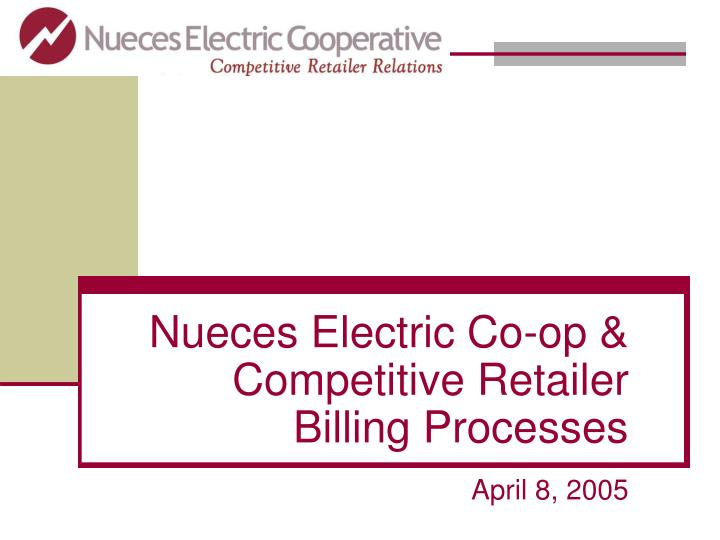 Nueces electric co op competitive retailer billing processes l.jpg