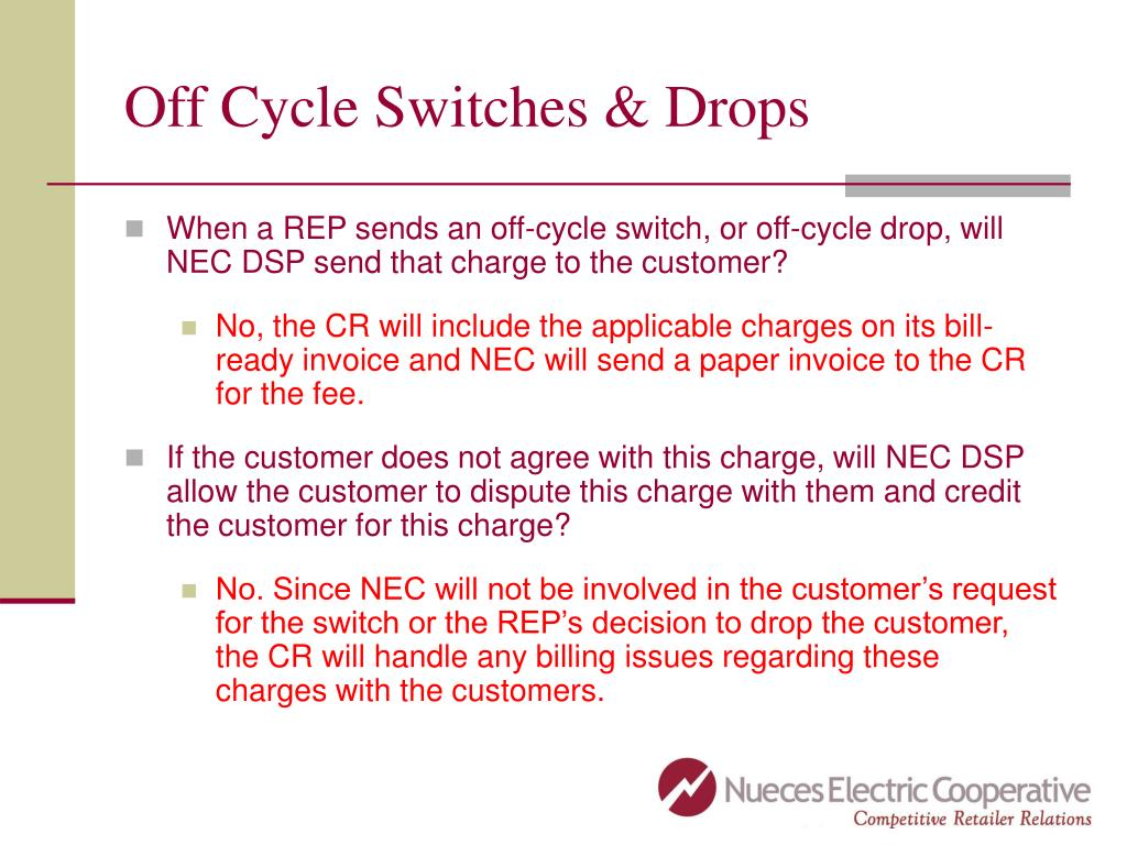 Off Cycle Switches & Drops
