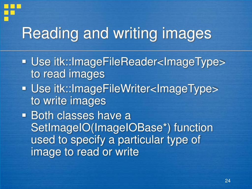 Reading and writing images