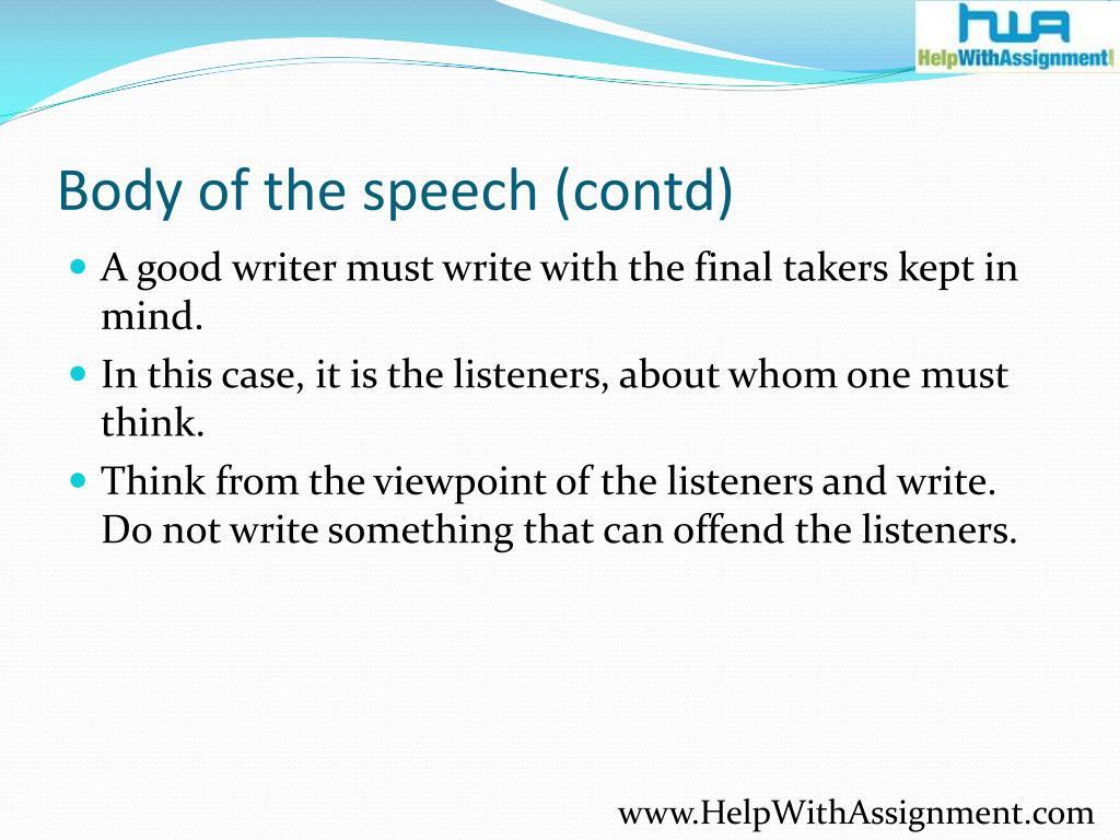 Body of the speech (