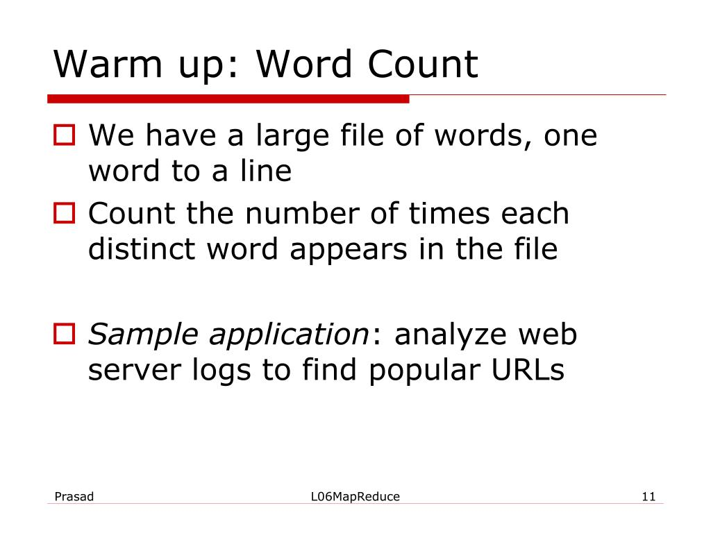 Warm up: Word Count