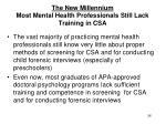 the new millennium most mental health professionals still lack training in csa