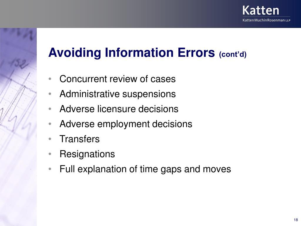 Avoiding Information Errors