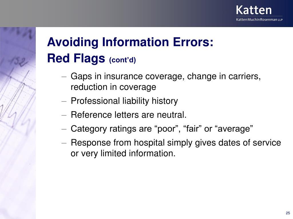 Avoiding Information Errors: