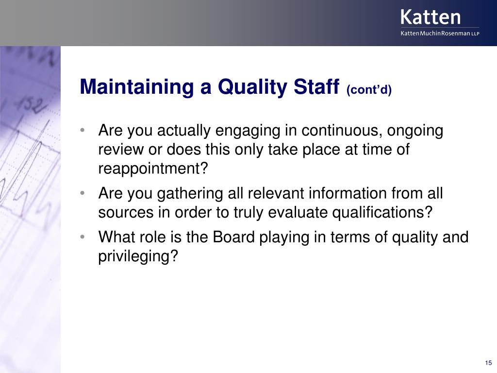 Maintaining a Quality Staff