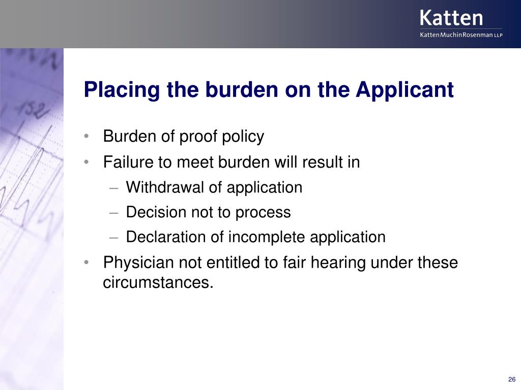 Placing the burden on the Applicant