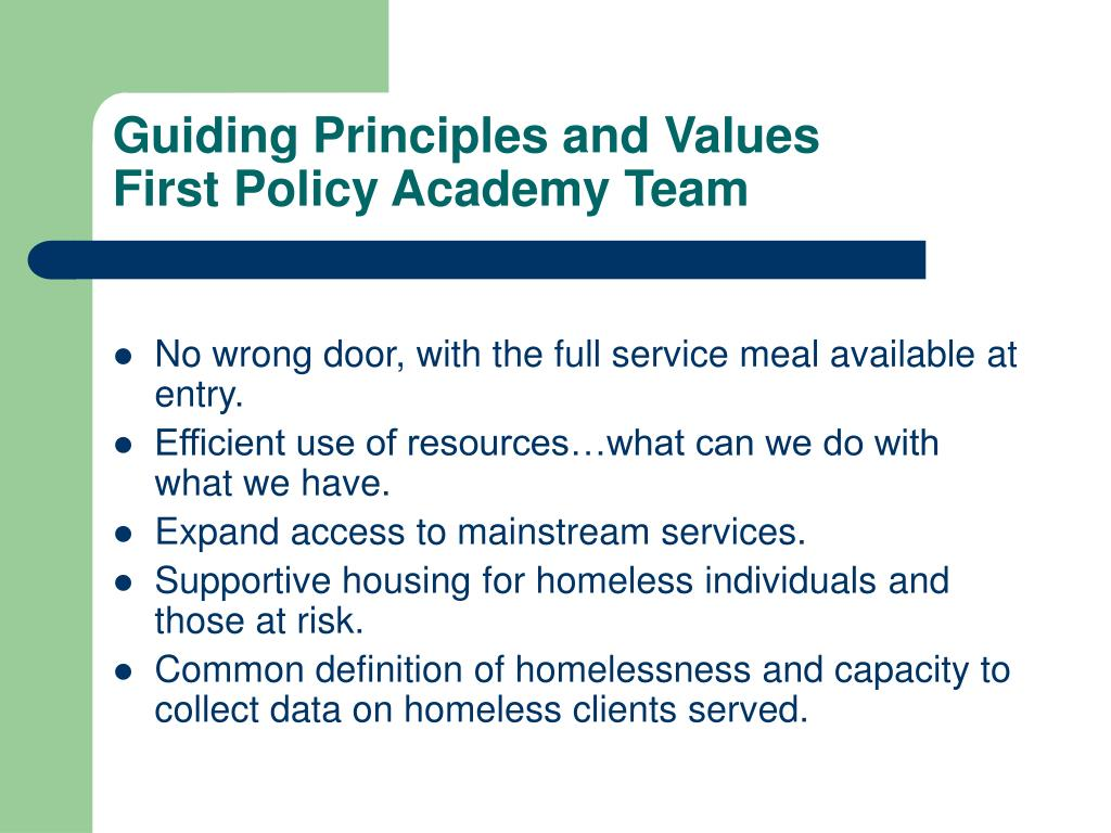 Guiding Principles and Values