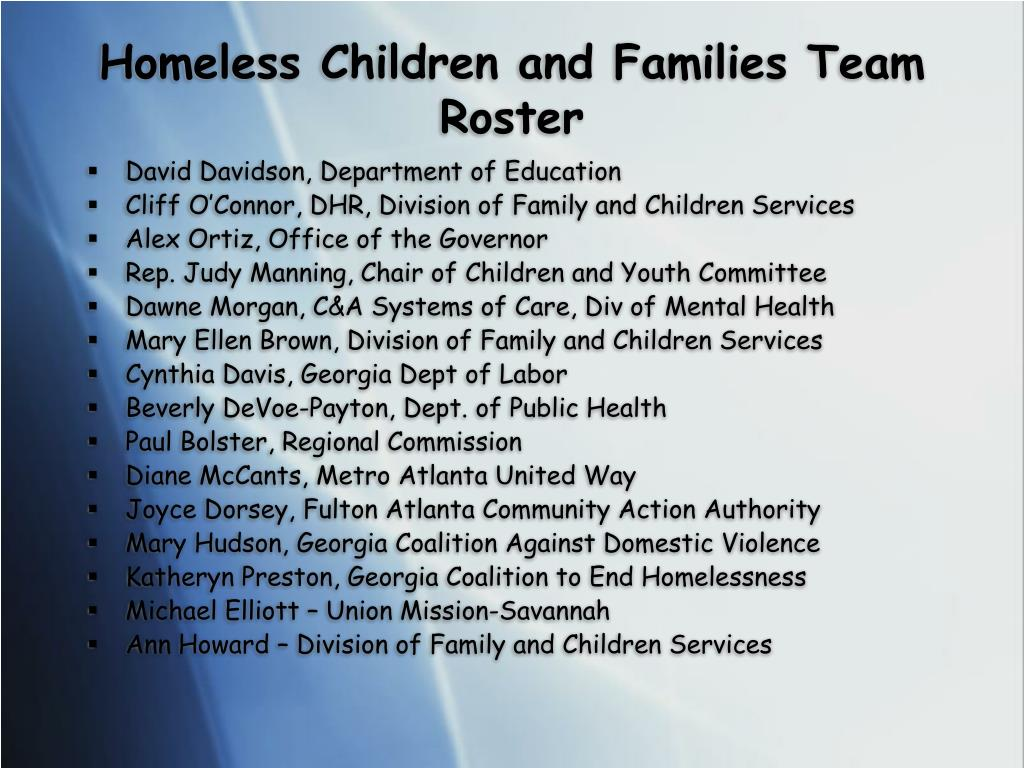 Homeless Children and Families Team Roster