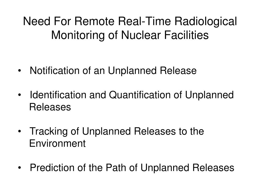 Need For Remote Real-Time Radiological Monitoring of Nuclear Facilities