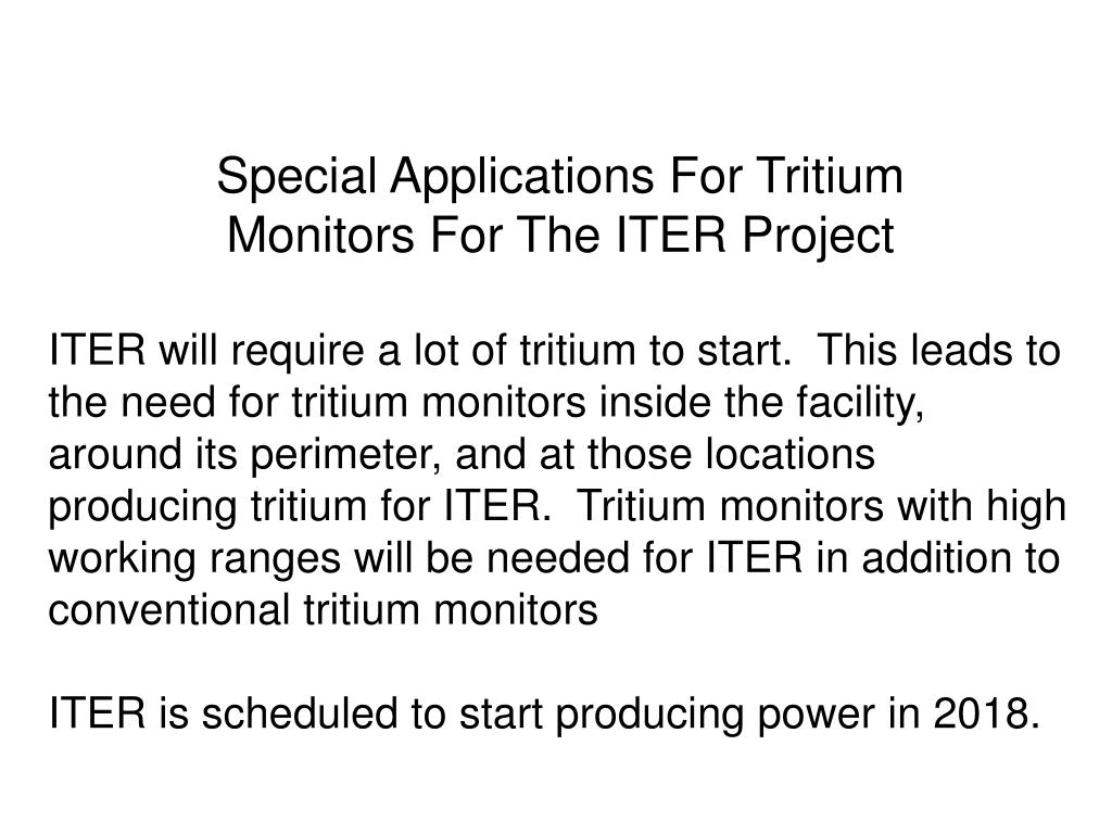 Special Applications For Tritium