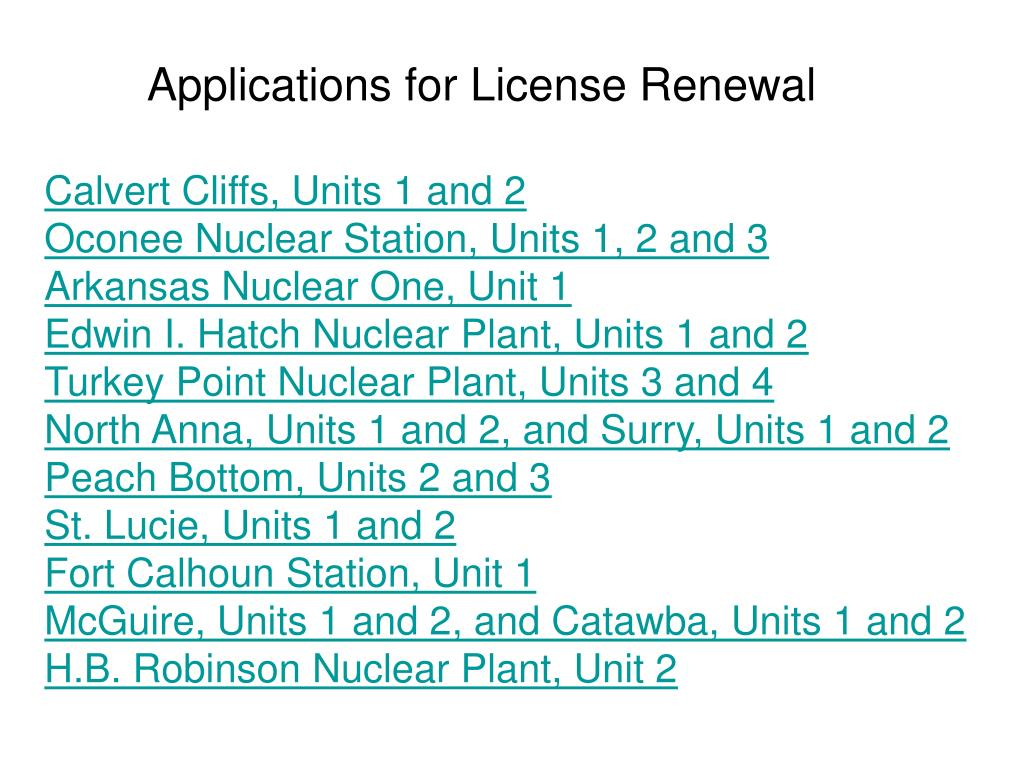 Applications for License Renewal