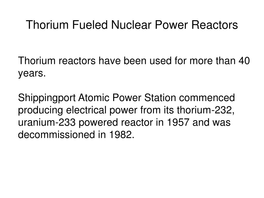 Thorium Fueled Nuclear Power Reactors