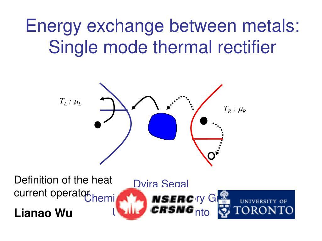 Energy exchange between metals: