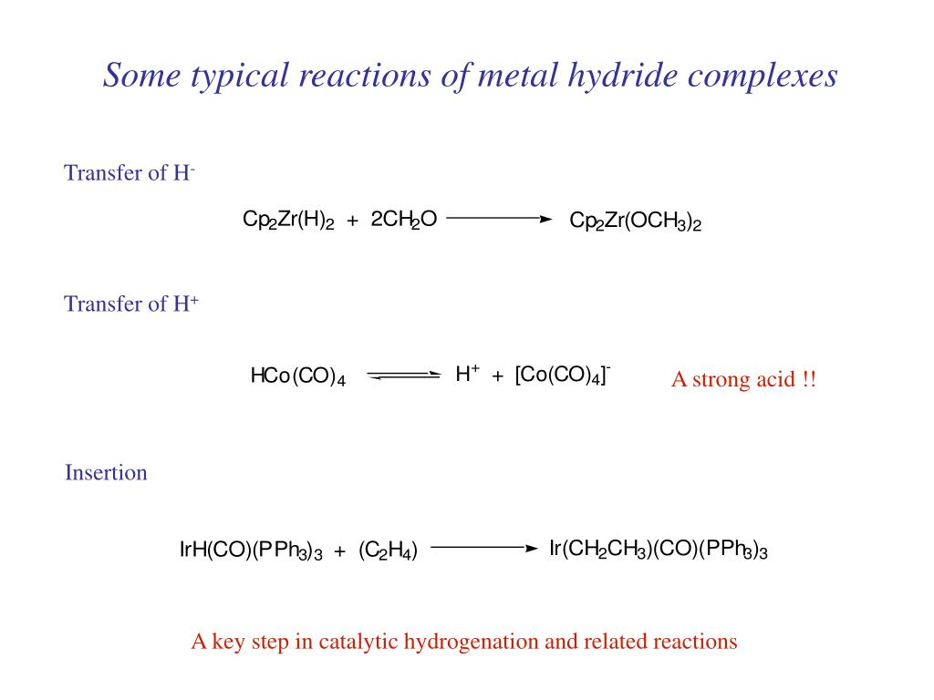 Some typical reactions of metal hydride complexes