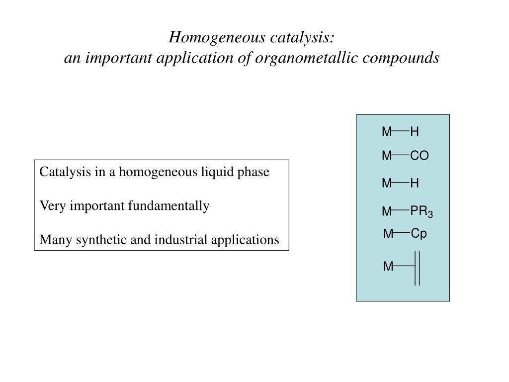 Homogeneous catalysis: