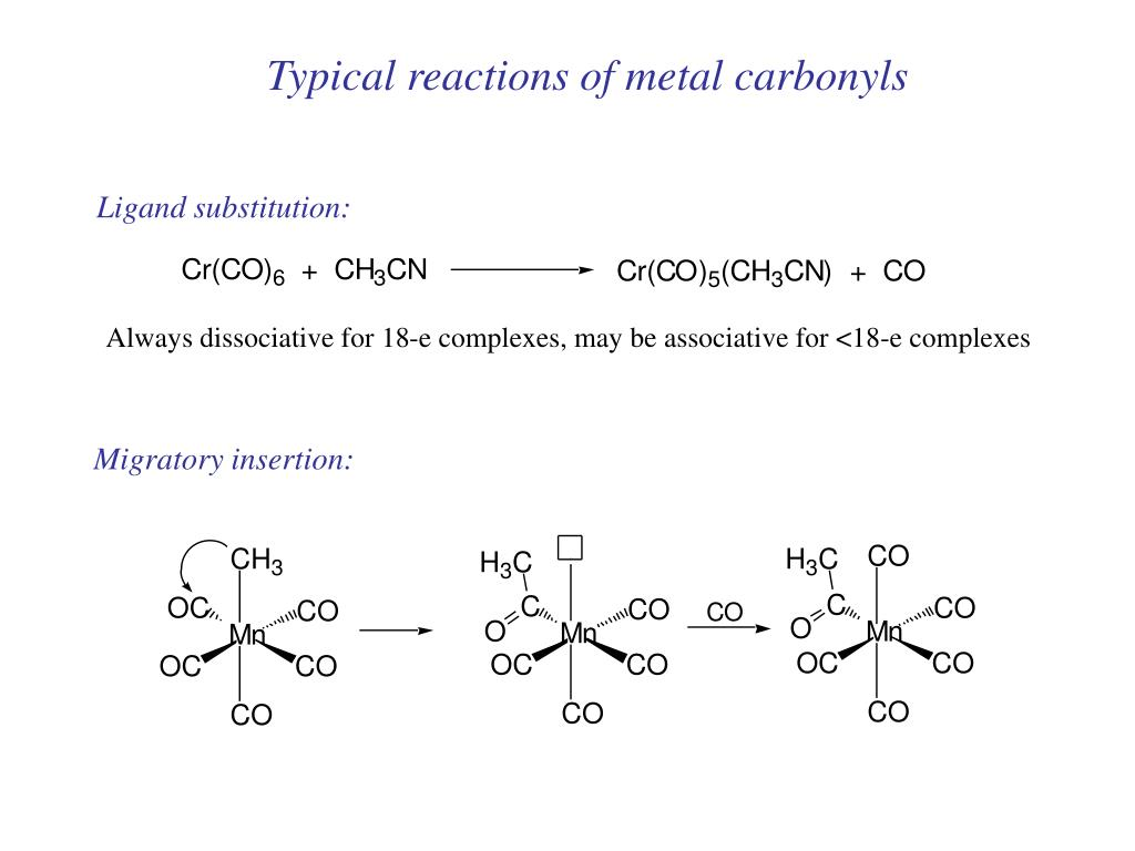 Typical reactions of metal carbonyls