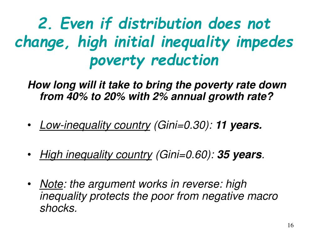 2. Even if distribution does not change, high initial inequality impedes poverty reduction