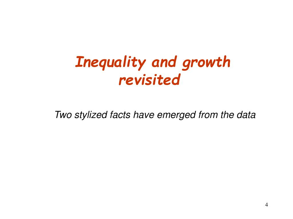Inequality and growth revisited