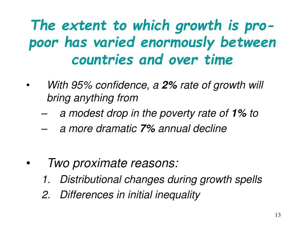 The extent to which growth is pro-poor has varied enormously between countries and over time