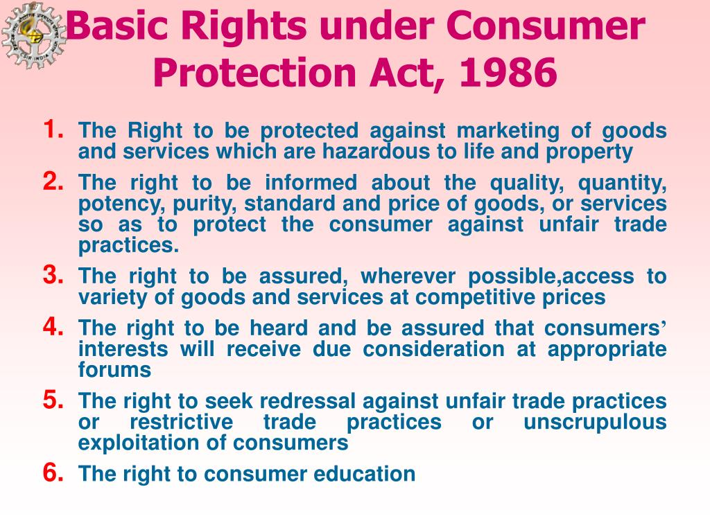Basic Rights under Consumer Protection Act, 1986