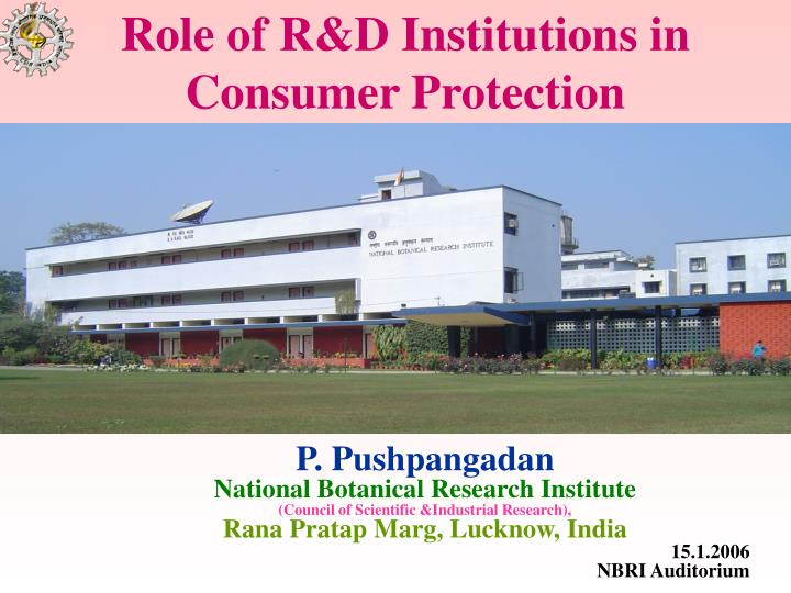 Role of r d institutions in consumer protection l.jpg