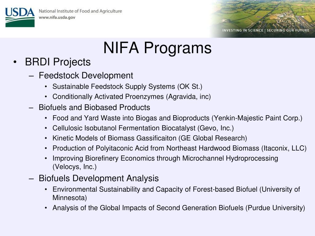 NIFA Programs