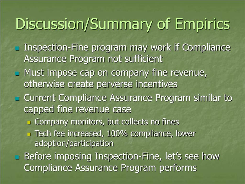Discussion/Summary of Empirics