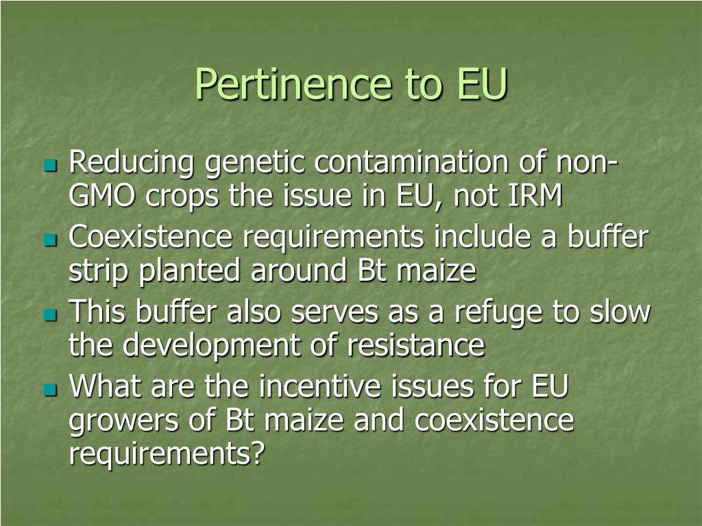 Pertinence to EU