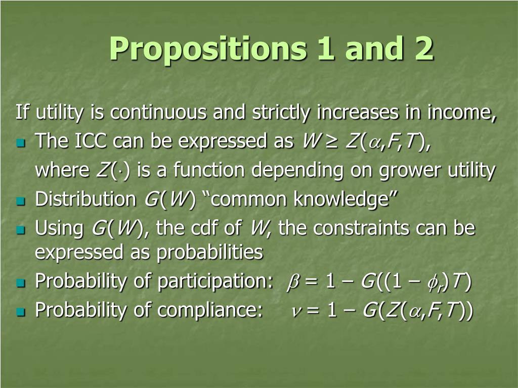 Propositions 1 and 2