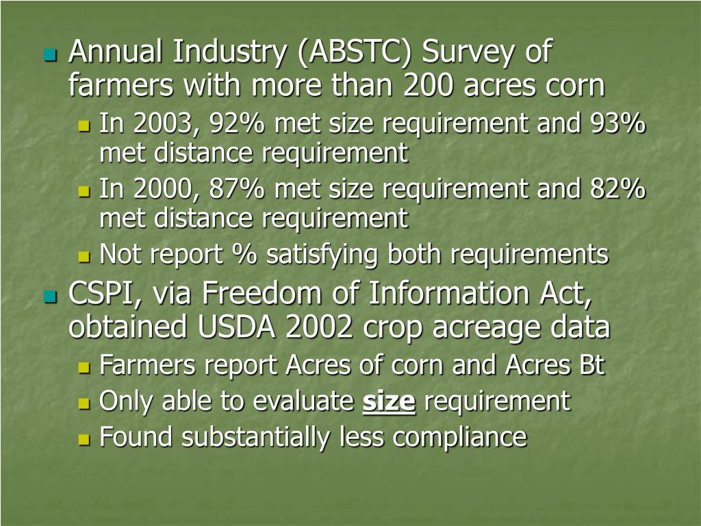 Annual Industry (ABSTC) Survey of farmers with more than 200 acres corn