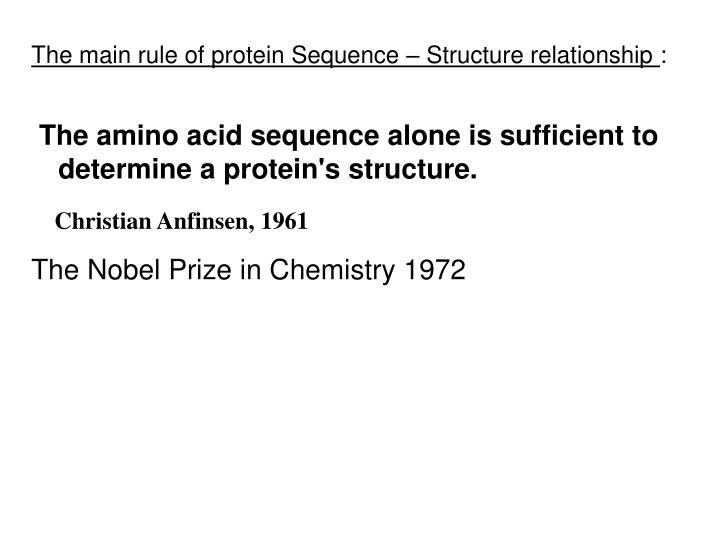 The main rule of protein Sequence – Structure relationship