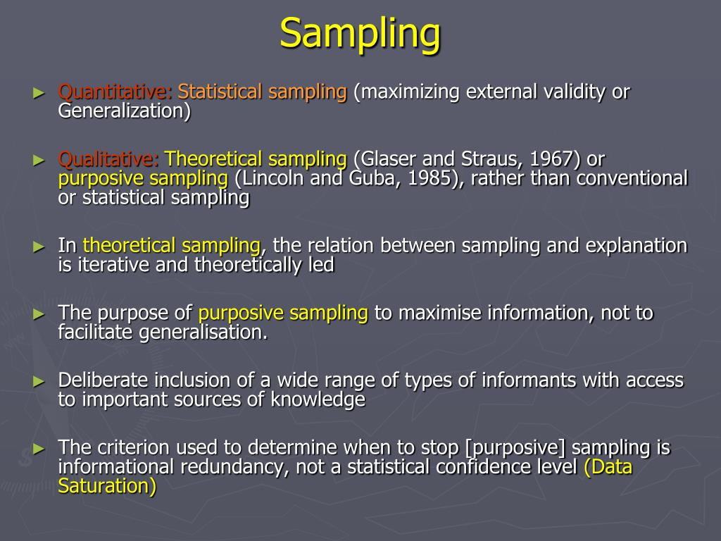 Purposive sampling in quantitative research