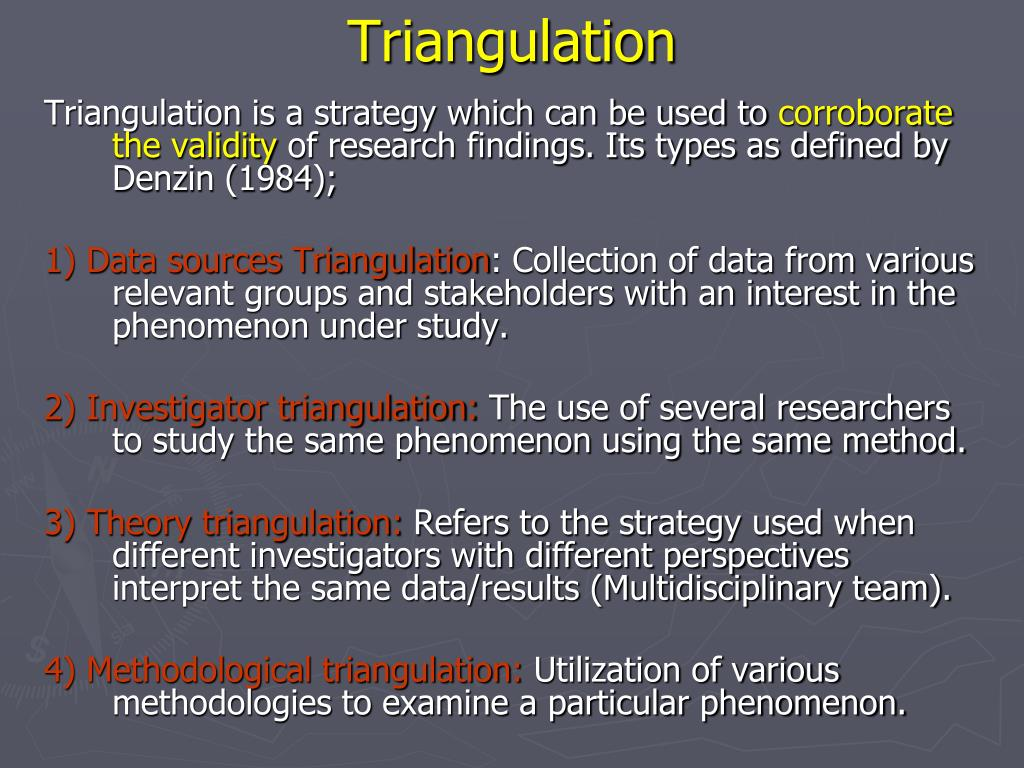 an introduction to triangulation Ebl 101  research methods: triangulation  virginia wilson  director, centre for evidence based library and information practice (c-eblip) university library.