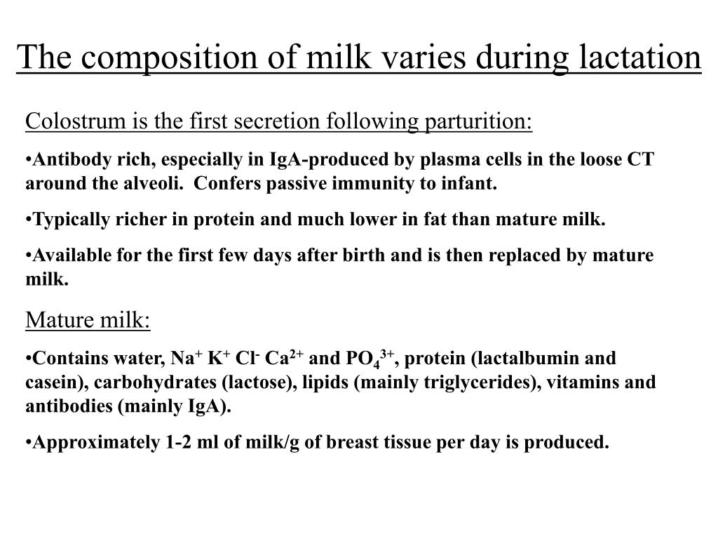 The composition of milk varies during lactation