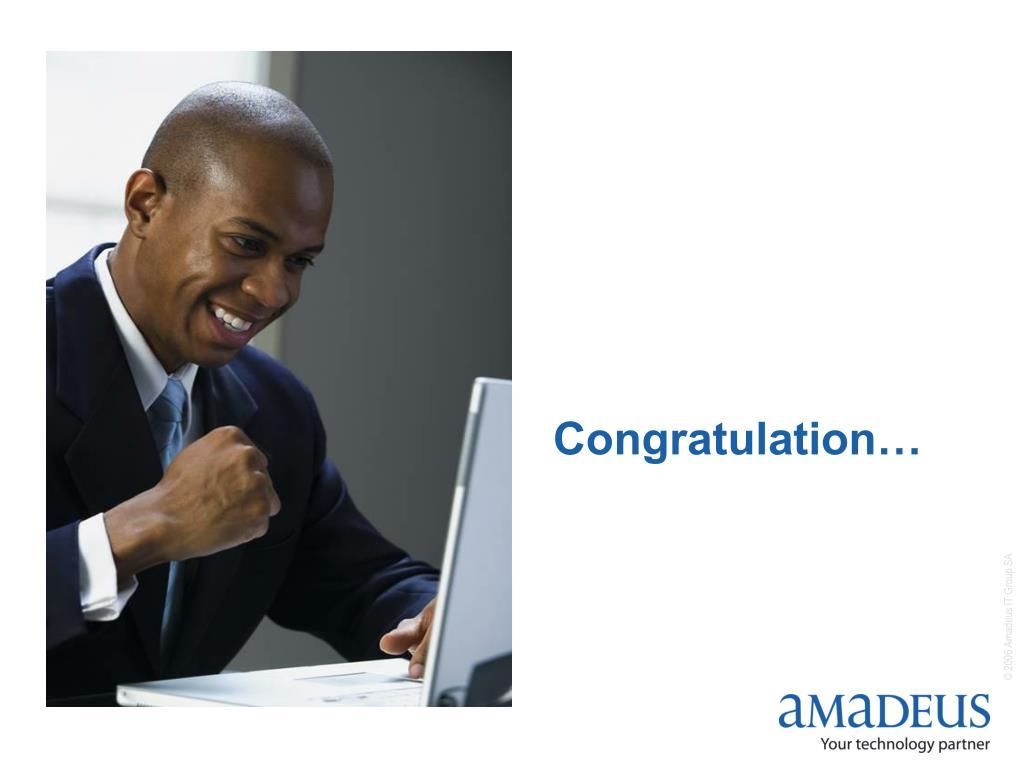 Congratulation…
