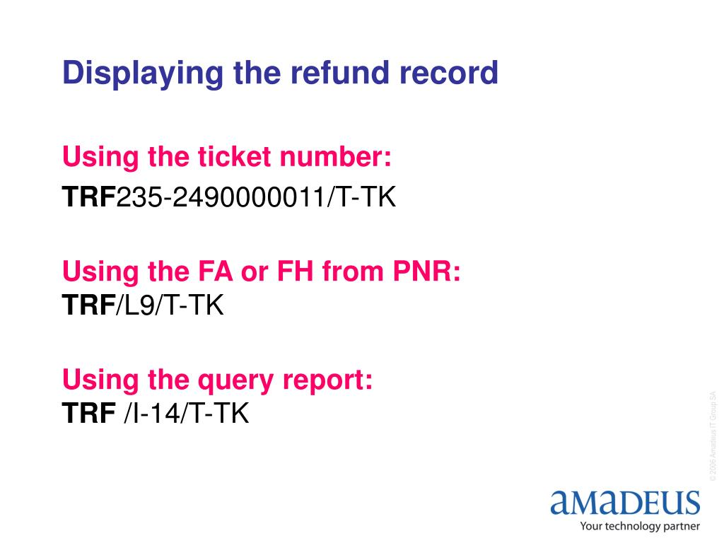 Displaying the refund record