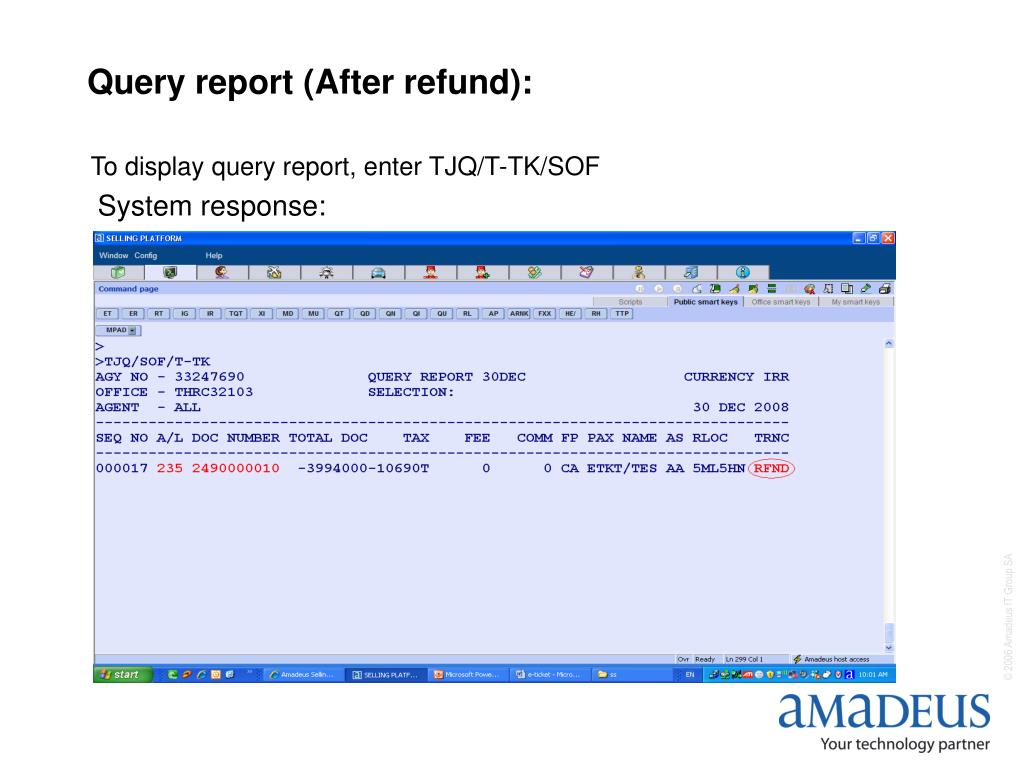 Query report (After refund):
