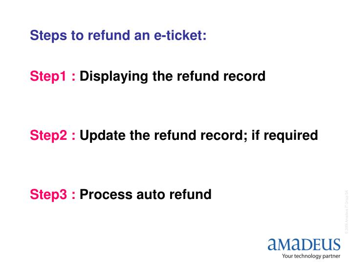 Steps to refund an e ticket