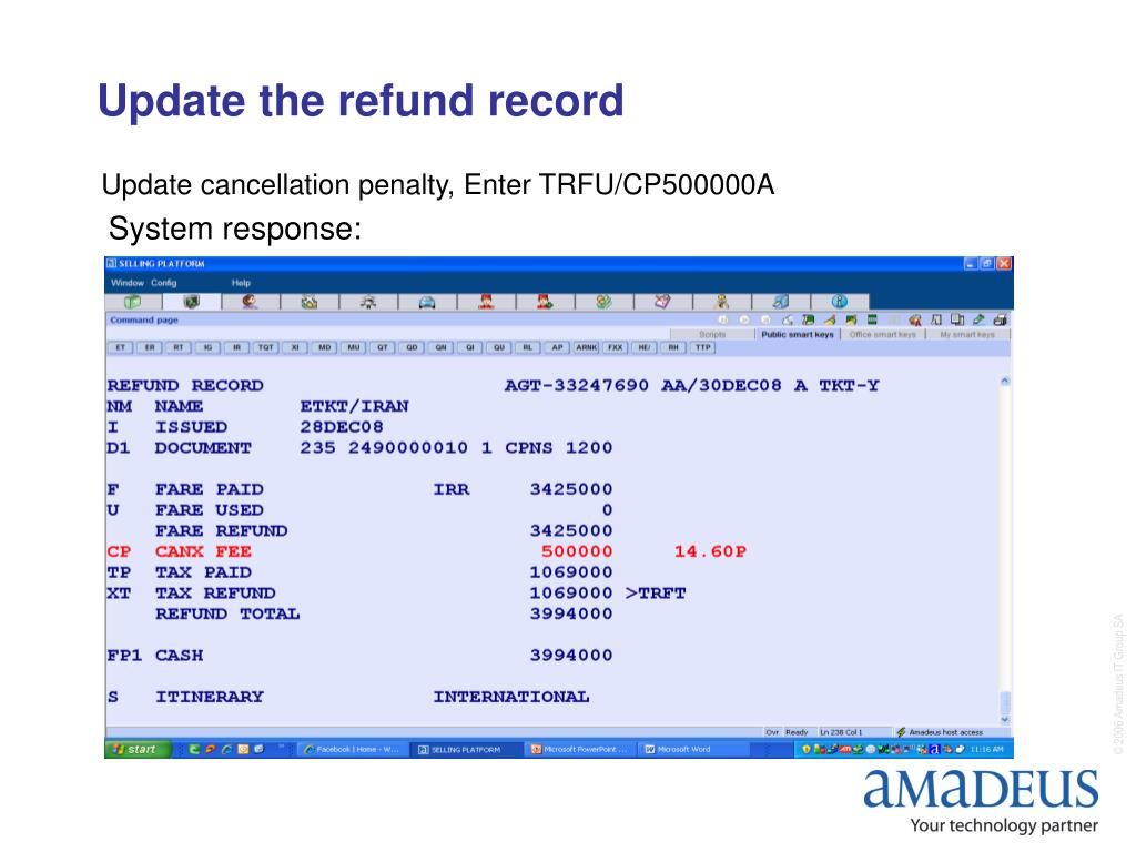 Update the refund record