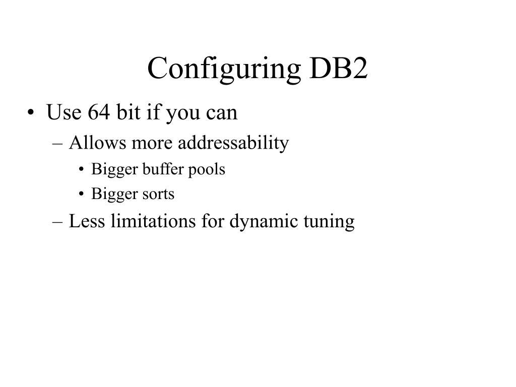 Configuring DB2