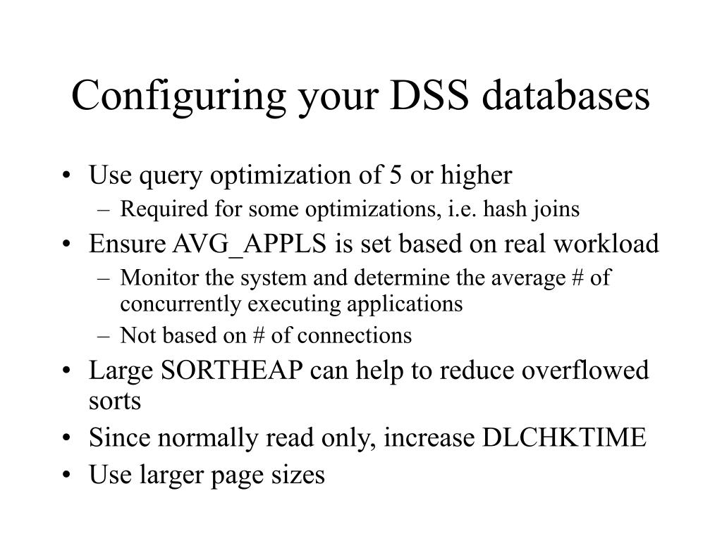 Configuring your DSS databases