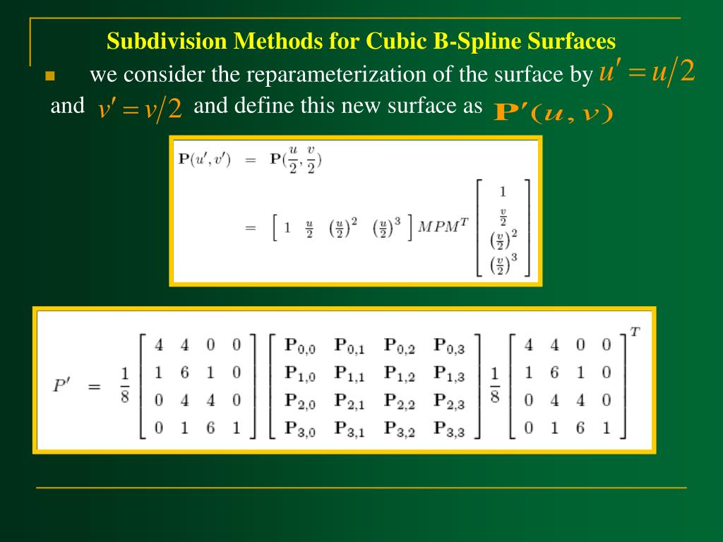 Subdivision Methods for Cubic B-Spline Surfaces