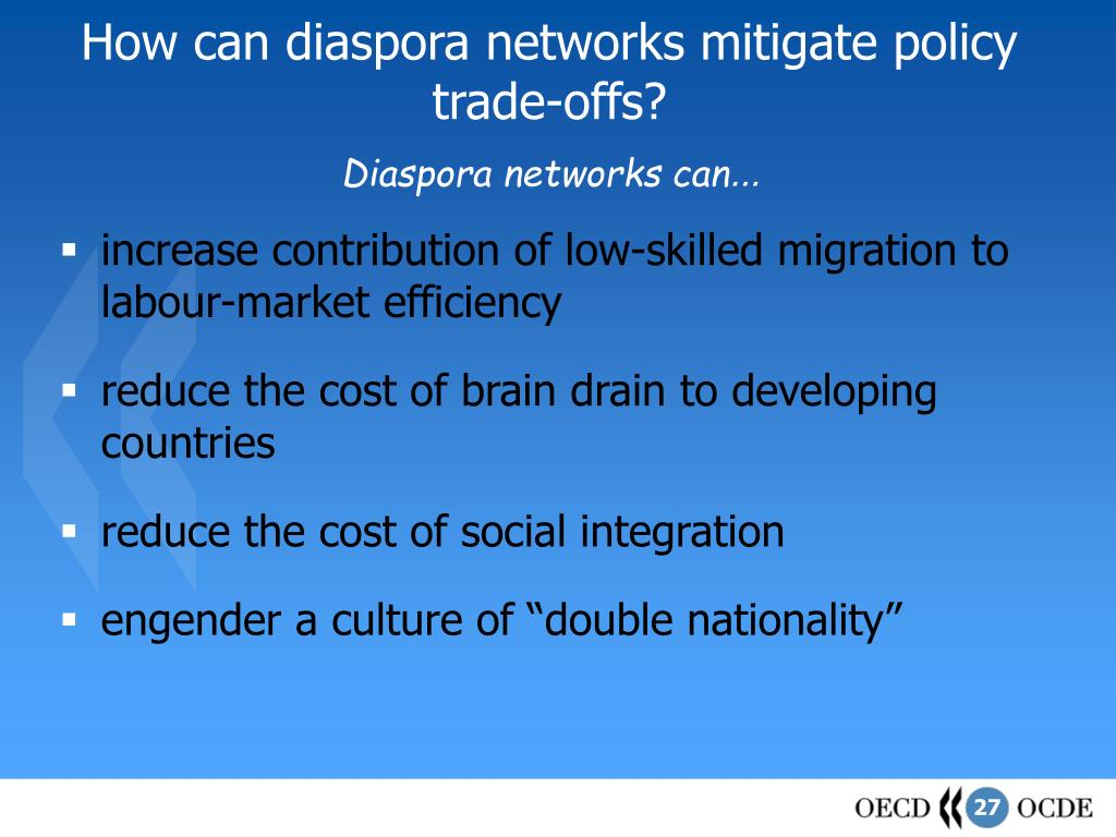 How can diaspora networks mitigate policy trade-offs?