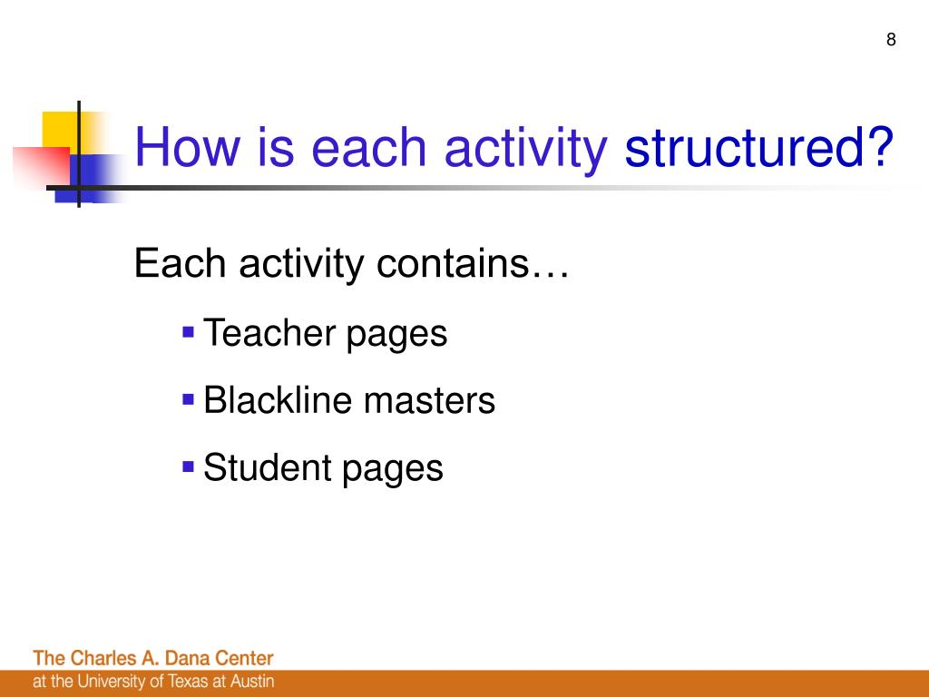 How is each activity