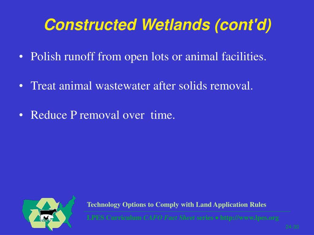 Constructed Wetlands (cont'd)