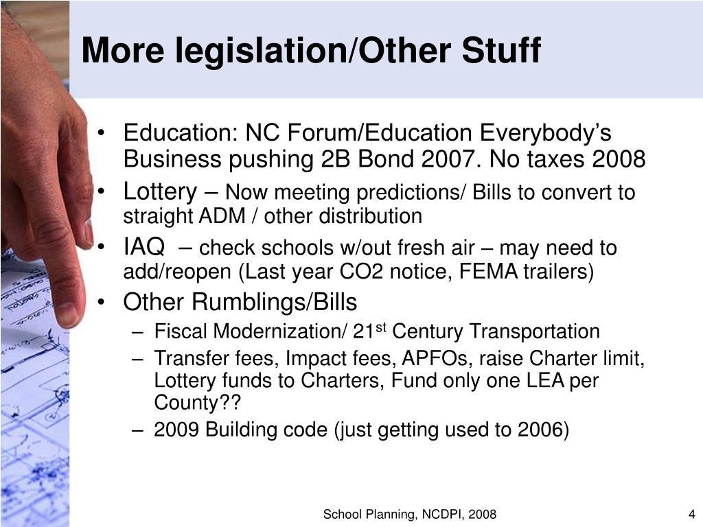 More legislation/Other Stuff