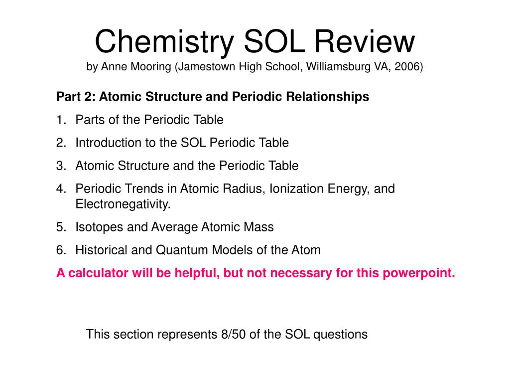 Chemistry SOL Review