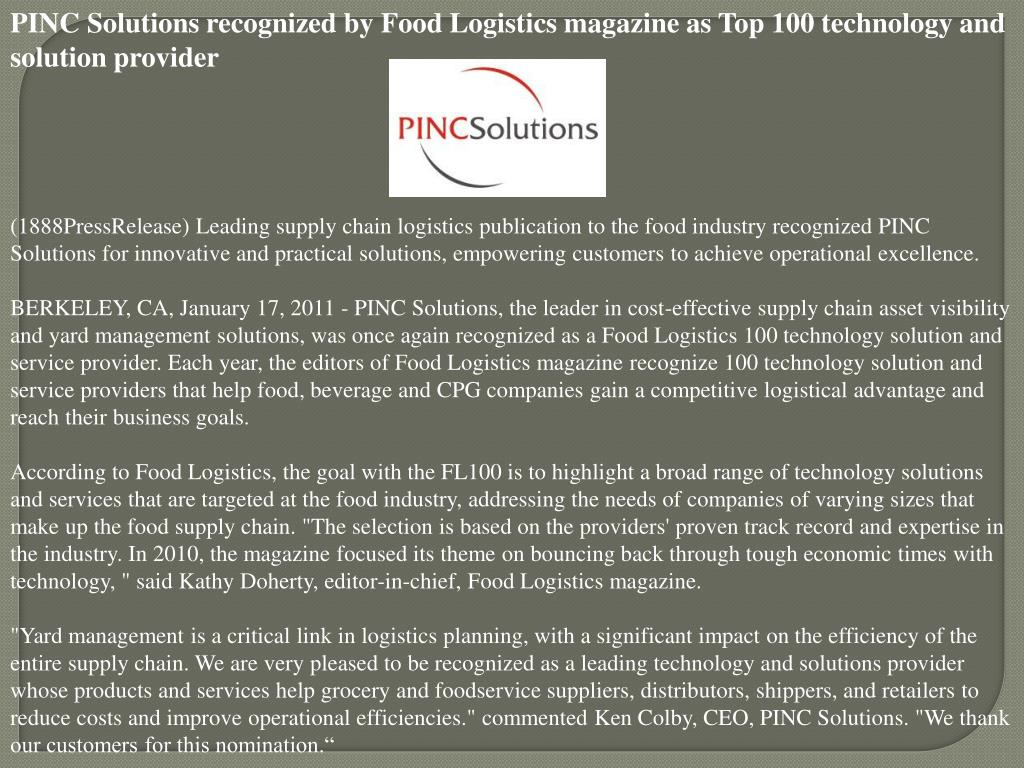 PINC Solutions recognized by Food Logistics magazine as Top 100 technology and solution provider
