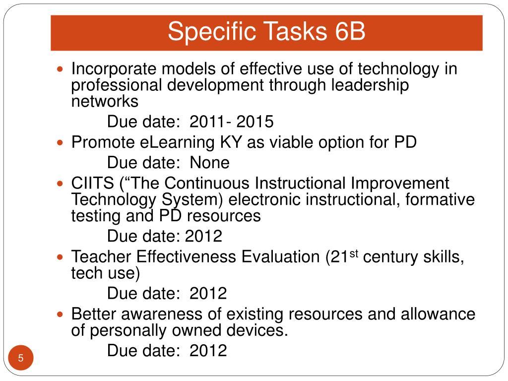 Specific Tasks 6B